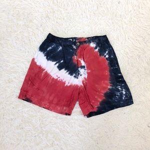 Chubbies Red White Blue Swirl Tie Dye 5.5 Shorts